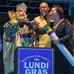 From left, Rex King of Carnival, Storey Charbonnet, Zulu President Elroy James and Mayor LaToya Cantrell press the plunger to start Mardi Gras at the Riverwalk's Spanish Plaza on Lundi Gras in New Orleans on Monday, Feb. 24, 2020.