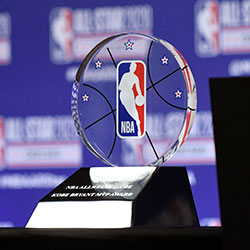 The NBA All-Star Game Kobe Bryant MVP Award is displayed during a news conference Saturday, Feb. 15, 2020, in Chicago