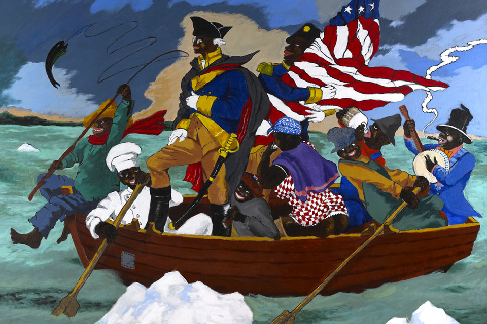 """George Washington Carver Crossing the Delaware: Page from an American History Textbook"" (1975) by Robert Colescott shows the painter's interest in exploring and reassessing history from a Black perspective"