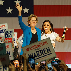 Elizabeth Warren was introduced by Toshiko Hasegawa, director of the Washington State Commission on Asian Pacific American Affairs