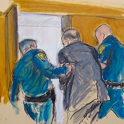 In this courtroom sketch, Harvey Weinstein, is led out of Manhattan Supreme Court by court officers after after a jury convicted him of rape and sexual assault, Monday, Feb. 24, 2020. (Elizabeth Williams via AP)