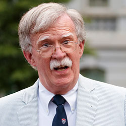 In this July 31, 2019 file photo, then National security adviser John Bolton speaks to media at the White House in Washington. Bolton says he's 'prepared to testify' in Senate impeachment trial if subpoenaed