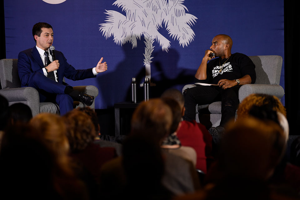 Democratic presidential contender and former South Bend, Indiana, Mayor Pete Buttigieg speaks with Charlamagne Tha God during an event on economic struggles in the black community on Thursday, Jan. 23, 2020, in Moncks Corner, S.C.