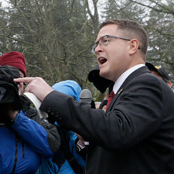 Republican Rep. Matt Shea speaks at a gun-rights rally, Friday, Jan. 17, 2020, in Olympia, Wash