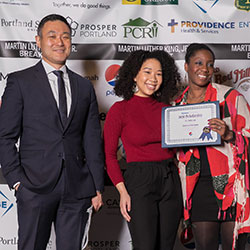 Scholarship recipient Amira Folsom, La Salle Catholic HS, Boston University recieves her award sponsored by PepsiCo