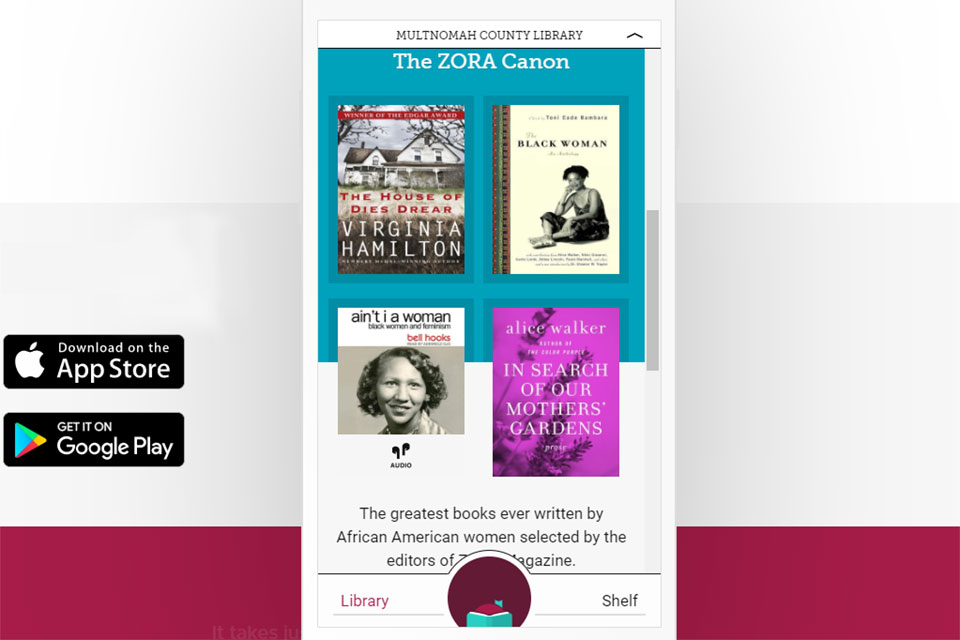 Multnomah County library page on Libby app