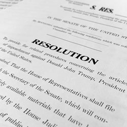 A copy of a Senate draft resolution to be offered by Senate Majority Leader Mitch McConnell, R-Ky., regarding the procedures during the impeachment trial of President Donald Trump in the U.S. Senate