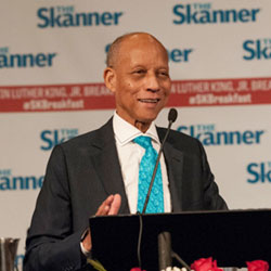 Bernie Foster speaks at The Skanner Foundation MLK Breakfast in 2019