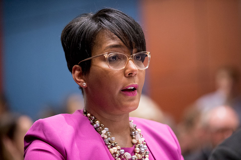 In this July 17, 2019, file photo, Atlanta Mayor Keisha Lance Bottoms speaks during a Senate Democrats' Special Committee on the Climate Crisis on Capitol Hill in Washington. Bottoms announced Monday, July 6, 2020, that she had tested positive for COVID-19. (AP Photo/Andrew Harnik, File)