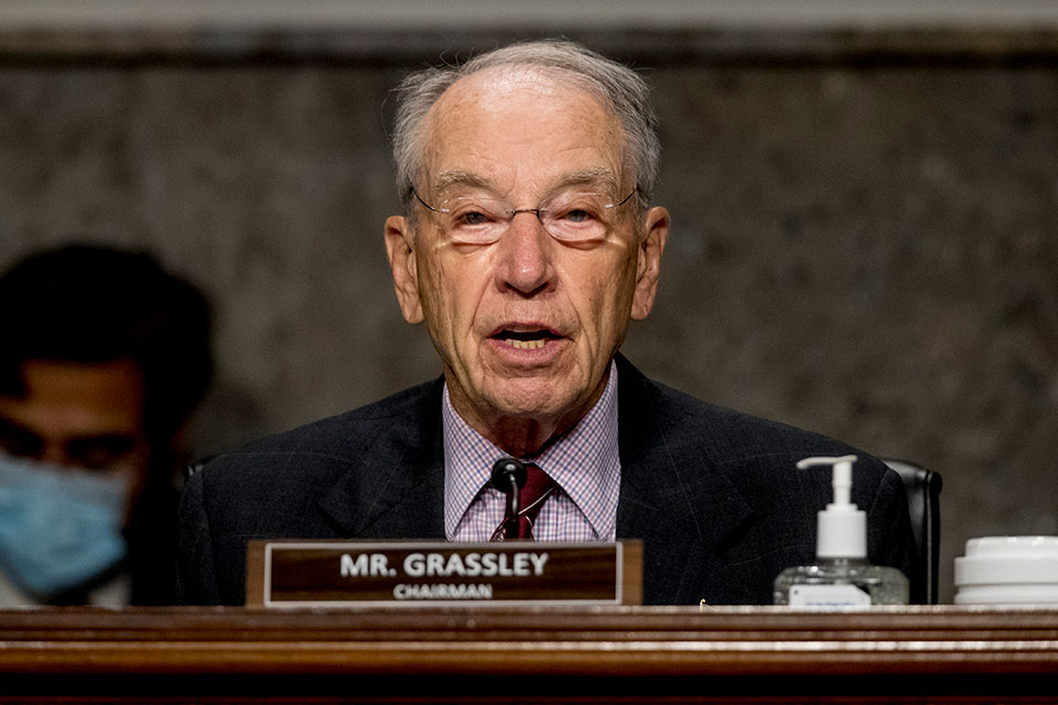 In this June 17, 2020, file photo, Sen. Chuck Grassley, R-Iowa, speaks during a Senate Finance Committee hearing on U.S. trade on Capitol Hill in Washington. Grassley is among GOP officials from New Hampshire to Mississippi to Iowa who quickly pushed back against President Donald Trump's suggestion that it may be necessary to delay the November election — which he cannot do without congressional approval — because of the unfounded threat of voter fraud. (AP Photo/Andrew Harnik, Pool, File)