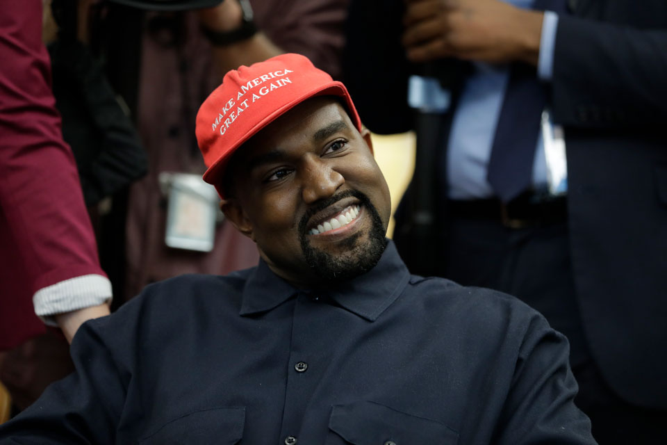 kanye presidential run red hat