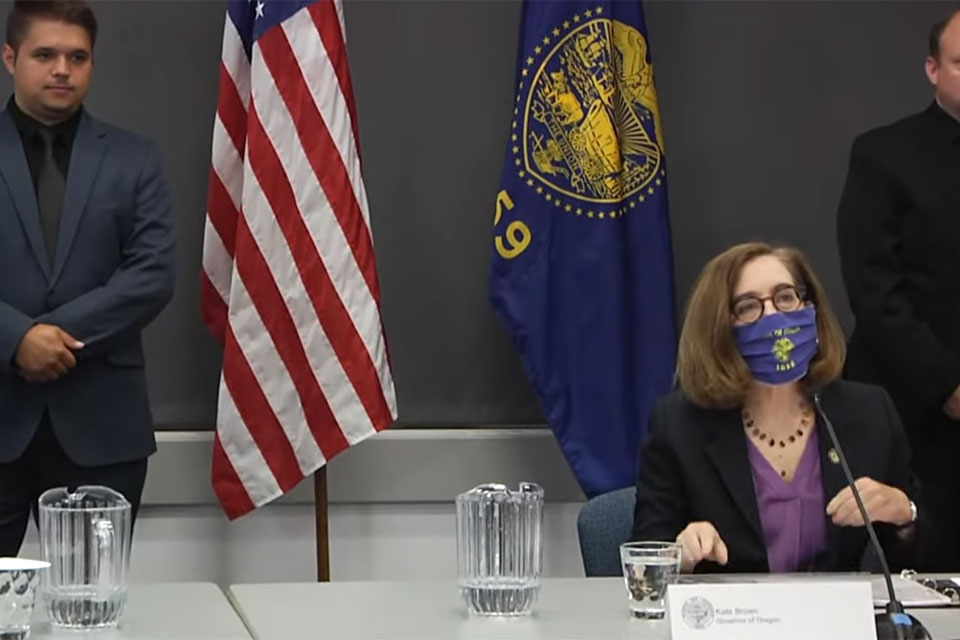 This video screenshot was taken from a press briefing with Gov. Kate Brown, held July 13, 2020.