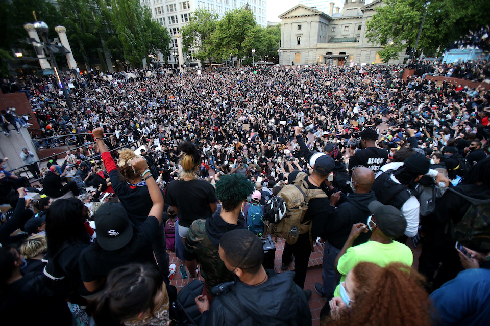 A crowd gathered in Pioneer Square in downtown Portland, June 2, 2020,Ore., at the height of the protests against the death of George Floyd. Thousands of protesters in the liberal and predominantly white city have taken to the streets peacefully every day for more than five weeks to decry police brutality, but recent violence by smaller groups is creating a deep schism in the protest movement and prompting allegations that white protesters are co-opting the moment. (Sean Meagher/The Oregonian via AP, File)