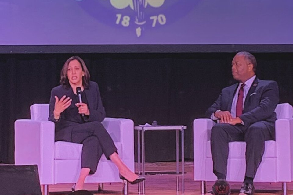 Sen. Kamala Harris and Mayor Steve Benjamin at a Justice Action Network event
