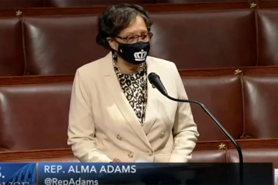 In this video screenshot taken June 25, 2020, Congresswoman Alma Adams (NC-12) delivers a speech on the floor of the U.S. House of Representatives in support of the George Floyd Justice in Policing Act.