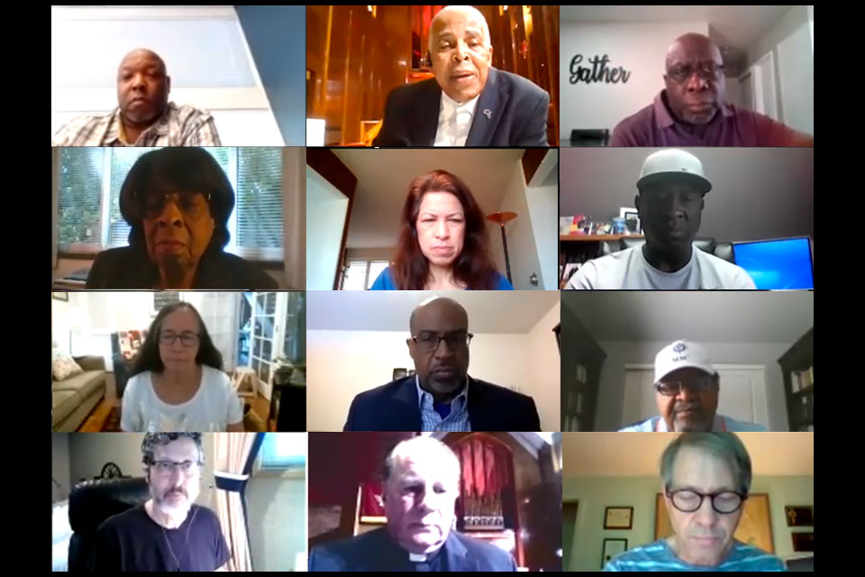 On Monday about 50 members of Portland-area clergy and area media signed onto a call hosted by Albina Ministerial Alliance of Portland's Coalition for Justice and Police Reform to discuss the pain of the Black community and to urge for more thoughtful media coverage of protests. (Image from screenshots of the Zoom video)