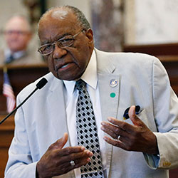 Sen. David Jordan, D-Greenwood, speaks for legislation that would change Mississippi's state flag Sunday, June 28, 2020 at the Capitol in Jackson, Miss.