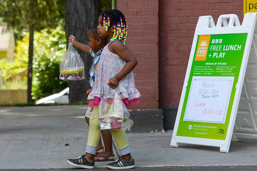 portland parks rec school lunches kids