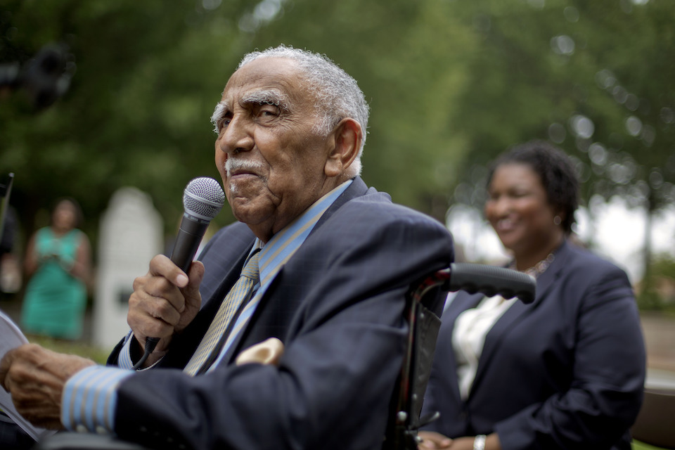 Civil rights leader the Rev. Joseph E. Lowery speaks at an event in Atlanta announcing state lawmakers from around the county have formed an alliance they say will combat restrictive voting laws, Aug. 14, 2013. Lowery, a veteran civil rights leader who helped the Rev. Dr. Martin Luther King Jr. found the Southern Christian Leadership Conference and fought against racial discrimination, died Friday, March 27, 2020, a family statement said. He was 98. (AP Photo/David Goldman, File)