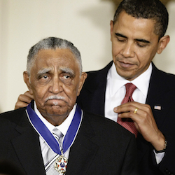 President Barack Obama presents a 2009 Presidential Medal of Freedom to the Rev. Joseph E. Lowery in the East Room of the the White House in Washington, Aug. 12, 2009). Lowery, a veteran civil rights leader who helped the Rev. Dr. Martin Luther King Jr. found the Southern Christian Leadership Conference and fought against racial discrimination, died Friday, March 27, 2020, a family statement said. He was 98. (AP Photo/J. Scott Applewhite, File