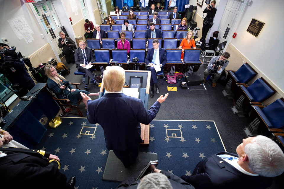 President Donald Trump speaks about the coronavirus in the James Brady Briefing Room, Monday, March 23, 2020, in Washington. (AP Photo/Alex Brandon)