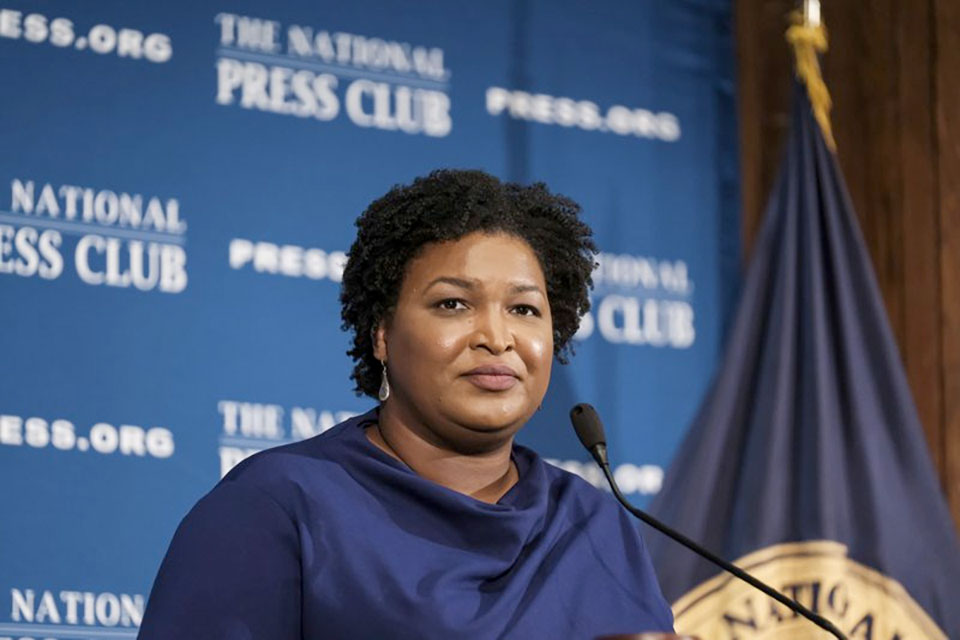 In this Nov. 15, 2019, file photo former Georgia House Democratic Leader Stacey Abrams, speaks at the National Press Club in Washington. Presumptive Democratic presidential nominee Joe Biden has already narrowed the field by saying he will pick a woman. In addition to Sen. Kamala Harris, Sen. Amy Klobuchar and Michigan Gov. Gretchen Whitmer, other names that have been part of the speculation are Sen. Elizabeth Warren of Massachusetts and Abrams. (AP Photo/Michael A. McCoy, File)