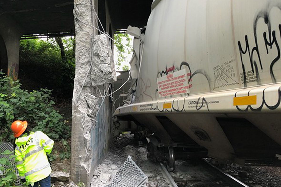 Three Union Pacific train cars came off the track in North Portland Tuesday, May 19. (photo by Union Pacific, courtesy PBOT)