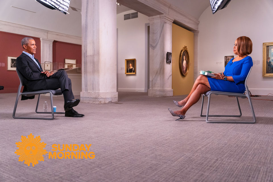 "Former President Barack Obama Talks With ""CBS THIS MORNING'S"" Gayle King in His First Broadcast Television Interview About His New Memoir, A Promised Land. ""AN HOUR WITH PRESIDENT OBAMA"" PREMIERES TUESDAY, NOVEMBER 17 AT 8 PM ET/PT ON BET & BET Her (Photo Credit: Lazarus Baptiste/CBS News)"