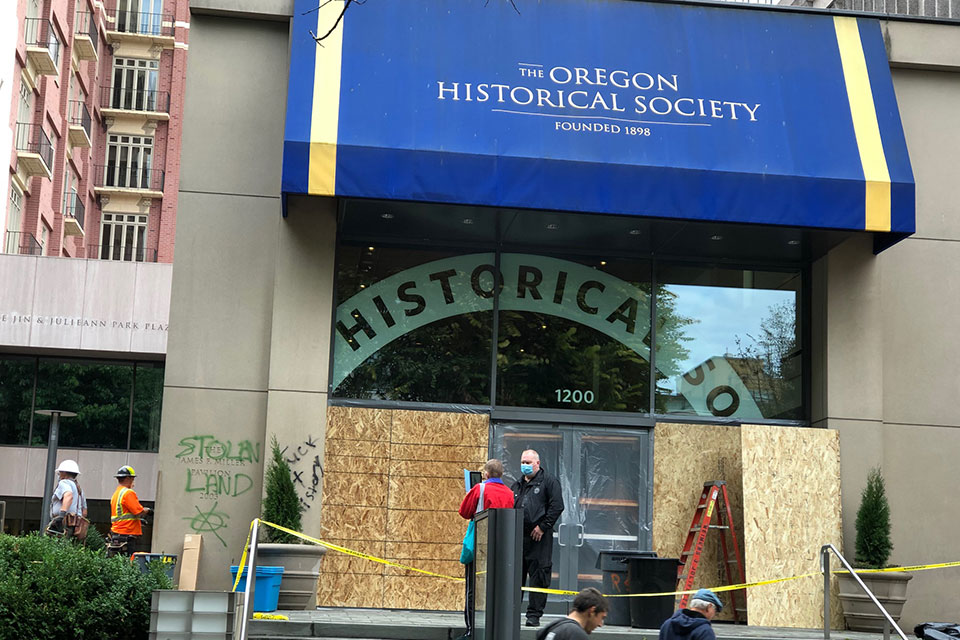 Windows were boarded up Monday after the Oregon Historical Society Museum was vandalized Sunday, Oct. 11, 2020. (photo/The Skanner)