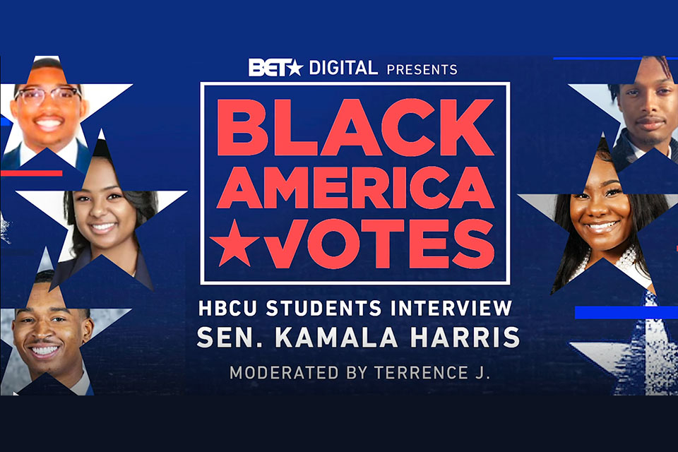 "BET Digital Presents ""BLACK AMERICA VOTES: HBCU STUDENTS INTERVIEW SEN. KAMALA HARRIS"" streaming now on BET.com (Photo: Business Wire)"