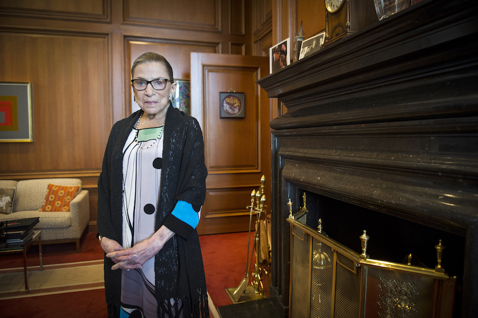 Associate Justice Ruth Bader Ginsburg is seen in her chambers in at the Supreme Court in Washington, July 31, 2014. The Supreme Court says Ginsburg has died of metastatic pancreatic cancer at age 87. (AP Photo/Cliff Owen, File)