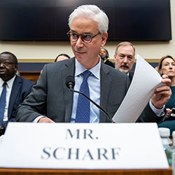 In this March 10, 2020 file photo, Wells Fargo CEO and President Charles Scharf is seated before he testifies during a hearing of the House Financial Services Committee, on Capitol Hill, in Washington.