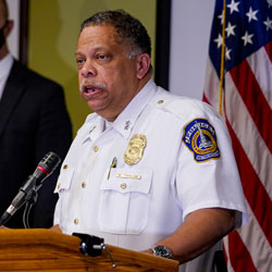 Chief Randal Taylor of the Indianapolis Metropolitan Police Department speaks at a news conference following a shooting at a FedEx facility in Indianapolis, Friday, April 16, 2021. A gunman killed several people and wounded others before taking his own life in a late-night attack at a FedEx facility near the Indianapolis airport, police said. (AP Photo/Michael Conroy)