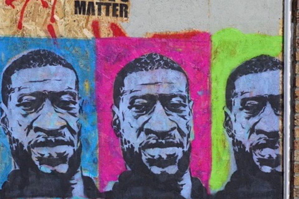 George Floyd Faces - This photo shows one of the George Floyd mural paintings during the Capitol Hill Organized Protest (CHOP) in Seattle last year. (Photo/Susan Fried)