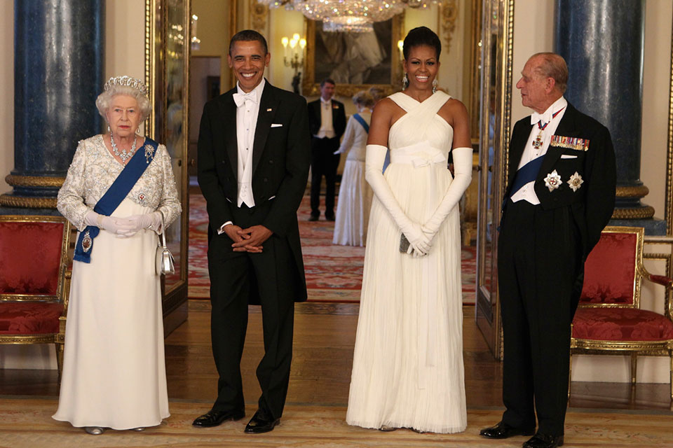 In this Tuesday May 24, 2011 file photo, Britain's Queen Elizabeth II, U.S. President Barack Obama, first lady Michelle Obama and Prince Philip ahead of a state banquet in Buckingham Palace, London. Buckingham Palace officials say Prince Philip, the husband of Queen Elizabeth II, has died, it was announced on Friday, April 9, 2021. He was 99. Philip spent a month in hospital earlier this year before being released on March 16 to return to Windsor Castle. Philip, also known as the Duke of Edinburgh, married Elizabeth in 1947 and was the longest-serving consort in British history. (AP Photo/Chris Jackson, Pool, File)