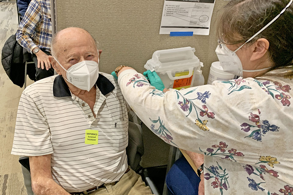 WWII Army Veteran George Kent of the Portland area got his second COVID vaccination at Portland VA Medical Center on January 28, 2021. George was an engineer and served time in the Philippines during the war making maps of Japan for the planned invasion. George turns 100 in March 2021.