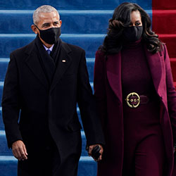 Former President Barack Obama and his wife Michelle arrive for the 59th Presidential Inauguration at the U.S. Capitol for President-elect Joe Biden in Washington, Wednesday, Jan. 20, 2021. (AP Photo/Patrick Semansky, Pool)