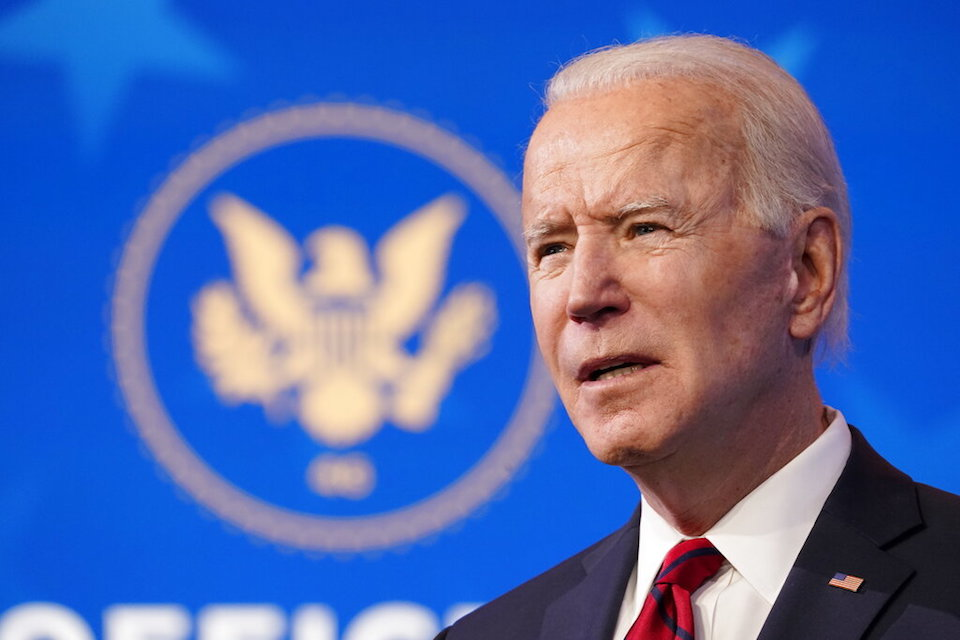 President-elect Joe Biden speaks during an event at The Queen theater, Friday, Jan. 15, 2021, in Wilmington, Del. (AP Photo/Matt Slocum)