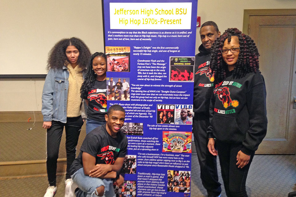 – Jefferson High School's Black Student Union members with advisors Ricky Pettifort and Ivy Keller. (Melanie Sevcenko)