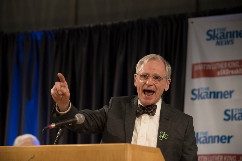 Rep. Earl Blumenauer addresses the crowd at The Skanner Foundation 2020 MLK Breakfast. (photo Julie Keefe)