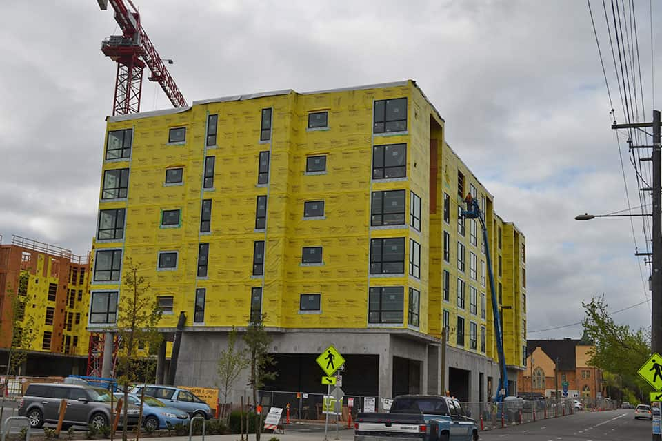 Apartment building under construction in Portland, OR