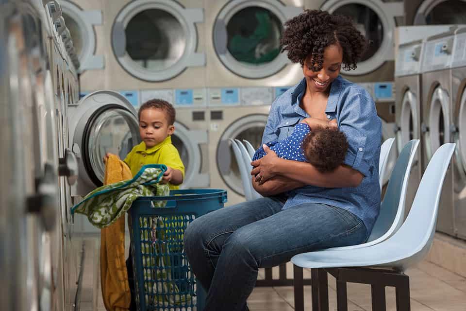 breastfeeding mom baby child full