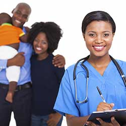 Family with nurse. (Stock photo)