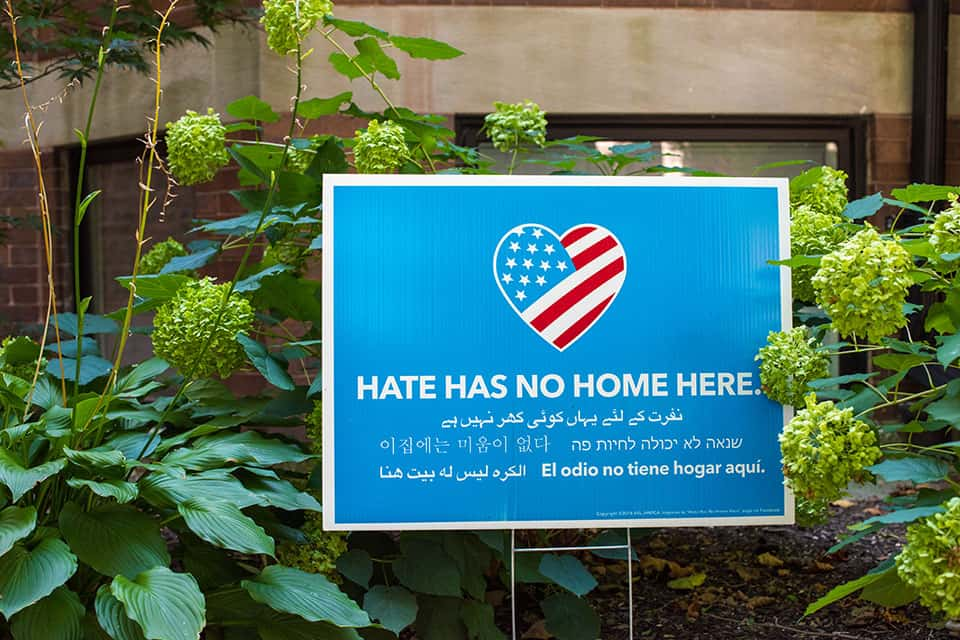 Anti-hate crime sign