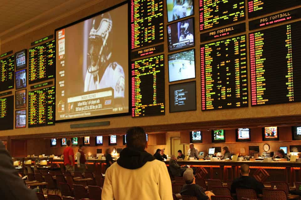 Sports betting in a Mandalay Bay casino in Las Vegas